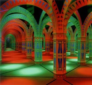 green and red mirror maze